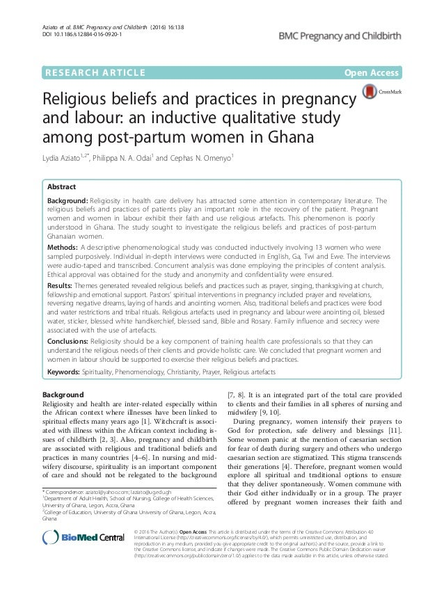 Religious beliefs and practices in pregnancy