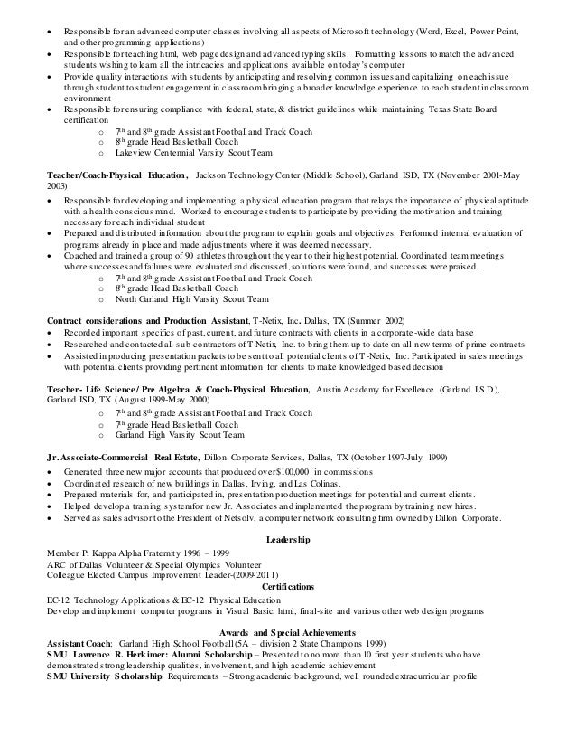 track coaching resume