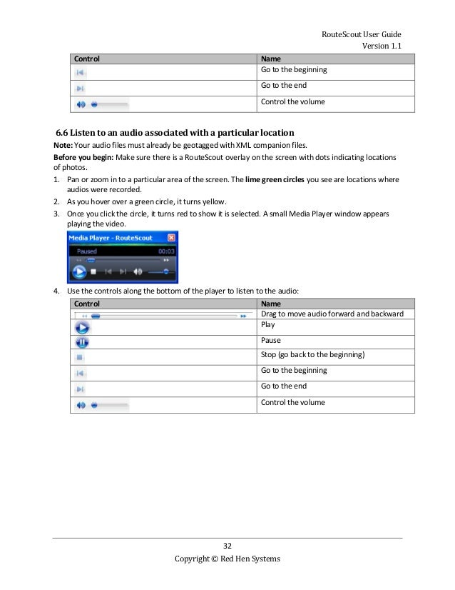 RouteScout User Guide Version 1.1 32 Copyright © Red Hen Systems Control Name Go to the beginning Go to the end Control th...