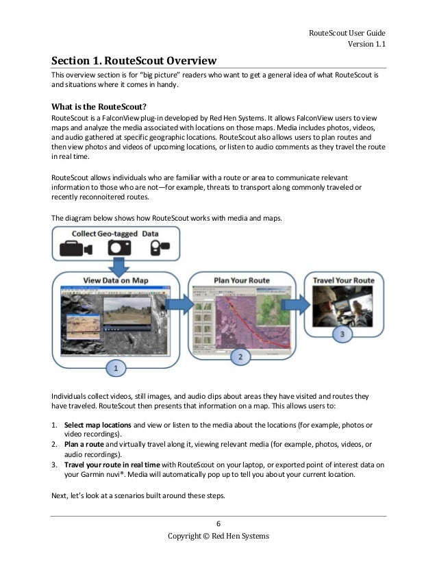 RouteScout User Guide Version 1.1 6 Copyright © Red Hen Systems Section 1. RouteScout Overview This overview section is fo...