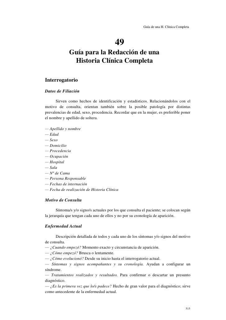 Guía de una H. Clínica Completa                                          49              Guía para la Redacción de una    ...
