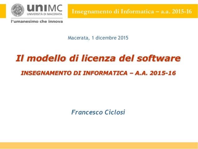Modulo 17 il modello di licenza del software for Software di progettazione del modello di casa