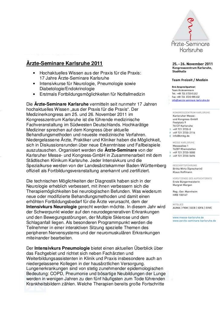 Ärzte-Seminare Karlsruhe 2011   •   Hochaktuelles Wissen aus der Praxis für die Praxis:       17 Jahre Ärzte-Seminare Karl...