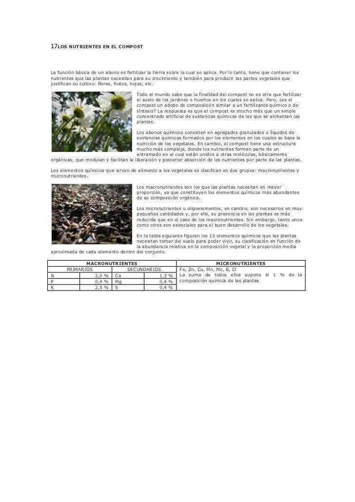 17LOS NUTRIENTES EN EL COMPOST<br />La función básica de un abono es fertilizar la tierra sobre la cual se aplica. Por lo ...