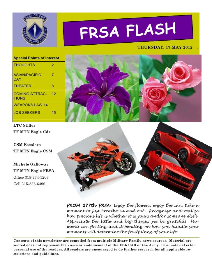 FRSA FLASH                                                                    THURSDAY, 17 MAY 2012               .Special...