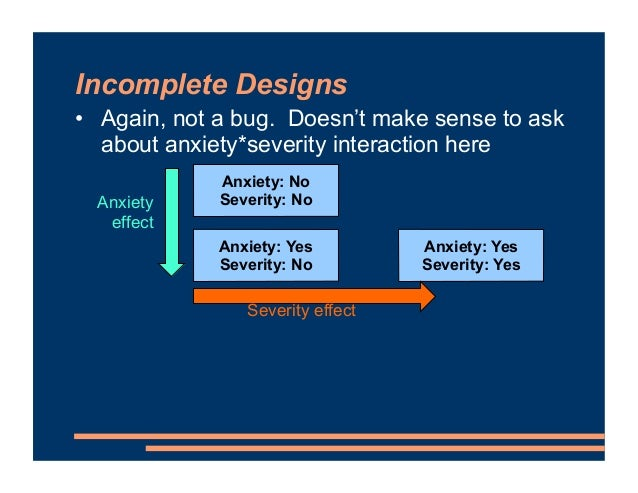 Incomplete Designs • Again, not a bug. Doesn't make sense to ask about anxiety*severity interaction here Anxiety: No Sever...