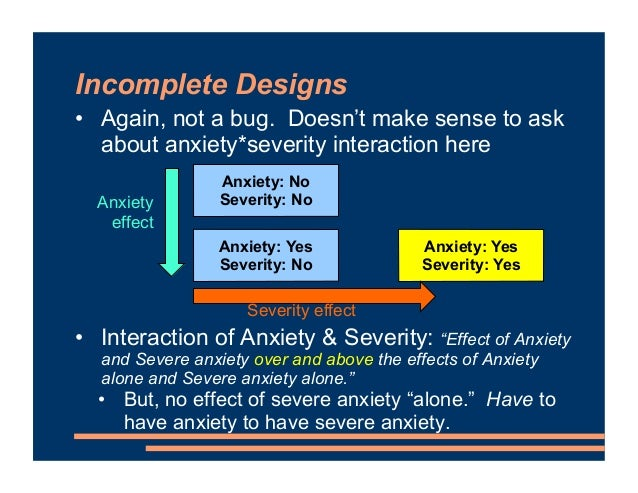 Incomplete Designs • Again, not a bug. Doesn't make sense to ask about anxiety*severity interaction here • Interaction of ...