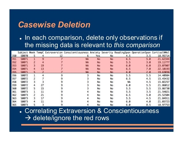 Casewise Deletion ! In each comparison, delete only observations if the missing data is relevant to this comparison ! Corr...