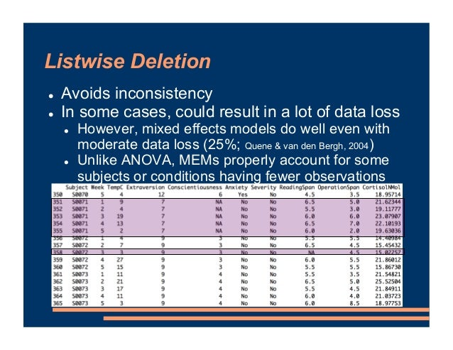 Listwise Deletion ! Avoids inconsistency ! In some cases, could result in a lot of data loss ! However, mixed effects mode...