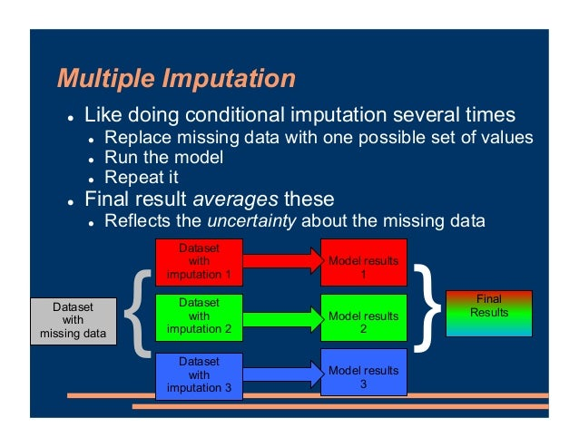 Multiple Imputation ! Like doing conditional imputation several times ! Replace missing data with one possible set of valu...