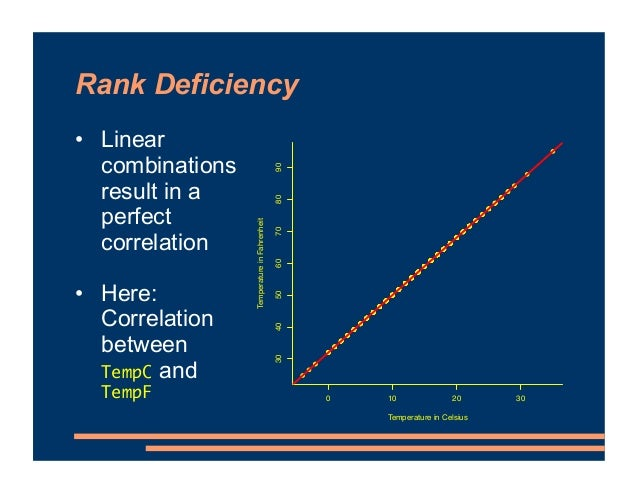Rank Deficiency • Linear combinations result in a perfect correlation • Here: Correlation between TempC and TempF ● ● ● ● ...
