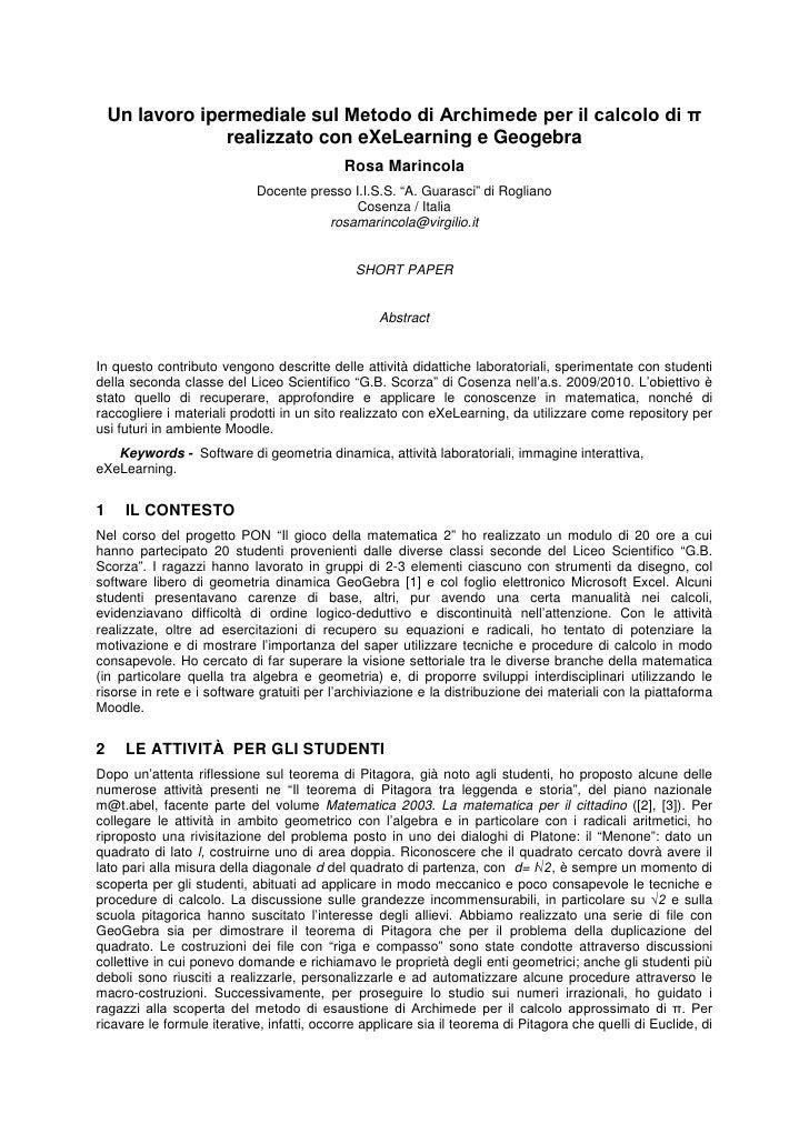 Un lavoro ipermediale sul Metodo di Archimede per il calcolo di π realizzato con eXeLearning e Geogebra