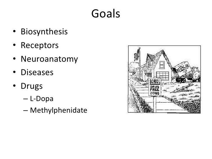 Goals•   Biosynthesis•   Receptors•   Neuroanatomy•   Diseases•   Drugs    – L-Dopa    – Methylphenidate