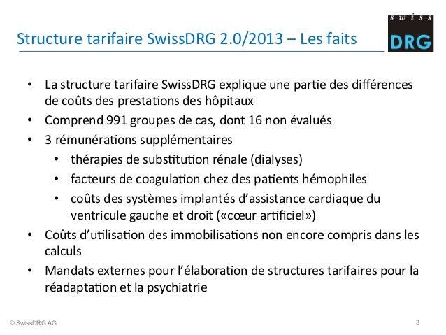 Structure  tarifaire  SwissDRG  2.0/2013  –  Les  faits   • La  structure  tarifaire  SwissDRG  exp...