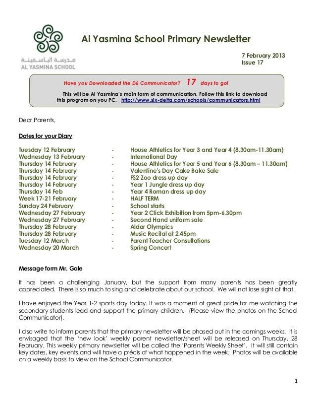 Al Yasmina School Primary Newsletter                                                                                      ...