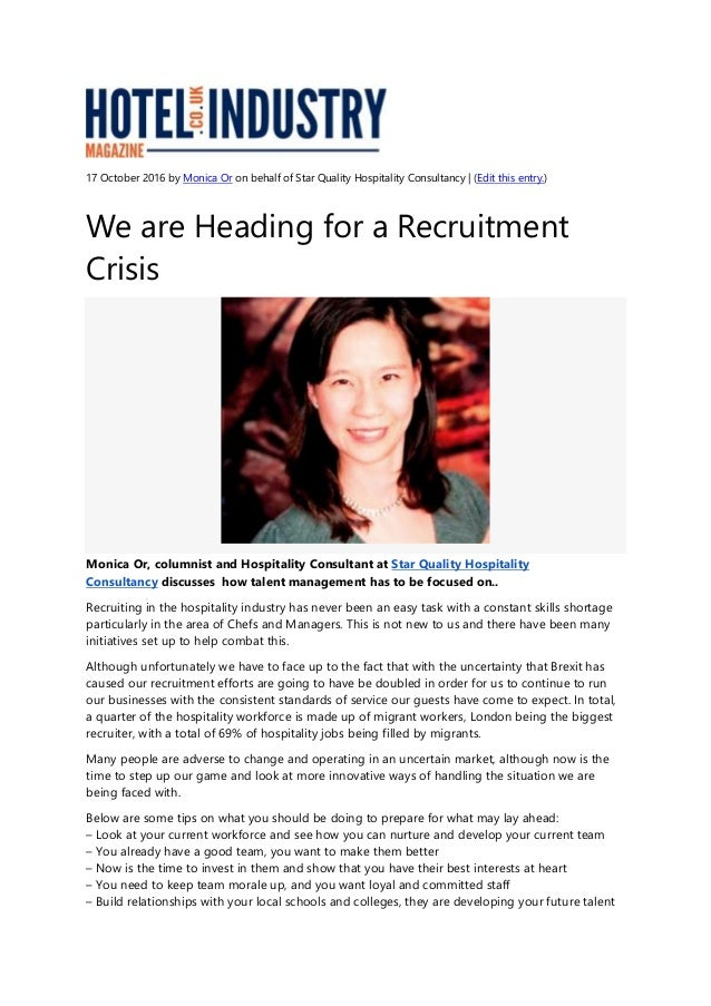 We are Heading for a Recruitment Crisis - Hotel Industry Article - 17…