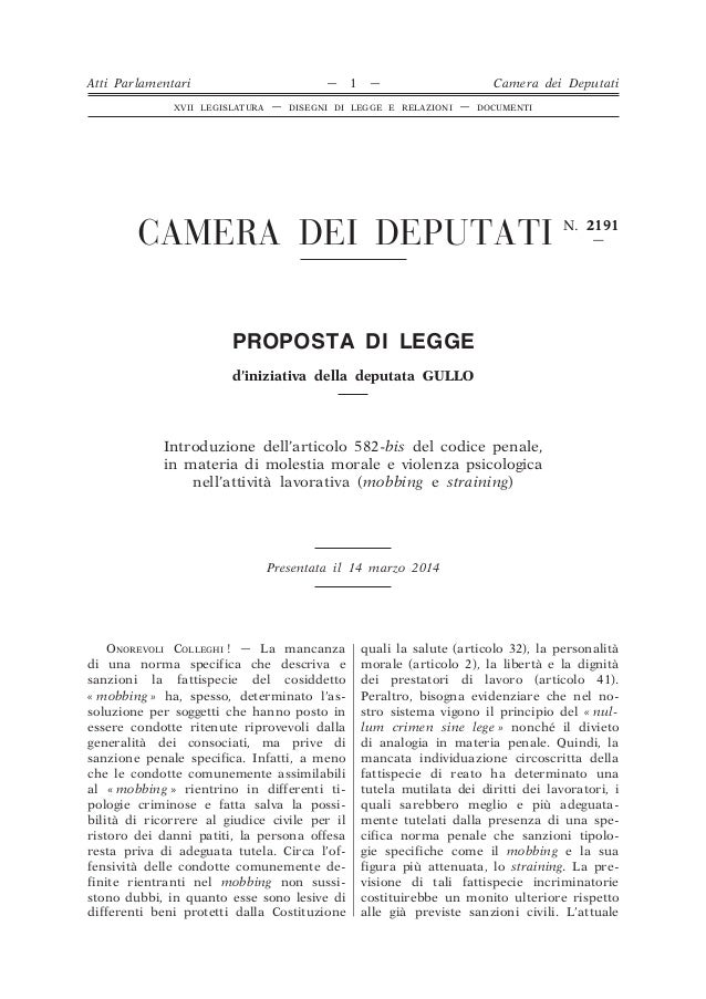 Camera dei deputati n 2191 proposta di legge d for Funzioni della camera dei deputati
