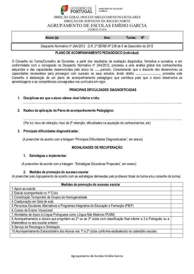 DIREÇÃO GERAL DOS ESTABELECIMENTOS ESCOLARES  DIREÇÃO DE SERVIÇOS DA REGIÃO NORTE  AGRUPAMENTO DE ESCOLAS EMÍDIO GARCIA  C...
