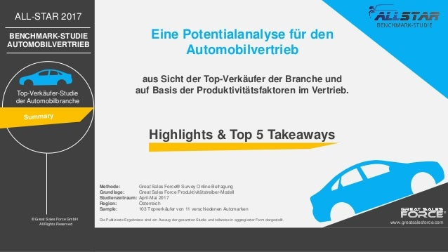 ALL-STAR 2017 BENCHMARK-STUDIE AUTOMOBILVERTRIEB Top-Verkäufer-Studie der Automobilbranche © Great Sales Force GmbH All Ri...