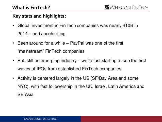 Wharton FinTech: Overview of FinTech Industry