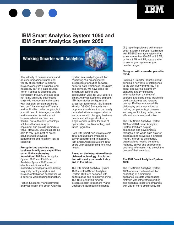 IBM Smart Analytics System 1050 andIBM Smart Analytics System 2050                                                        ...
