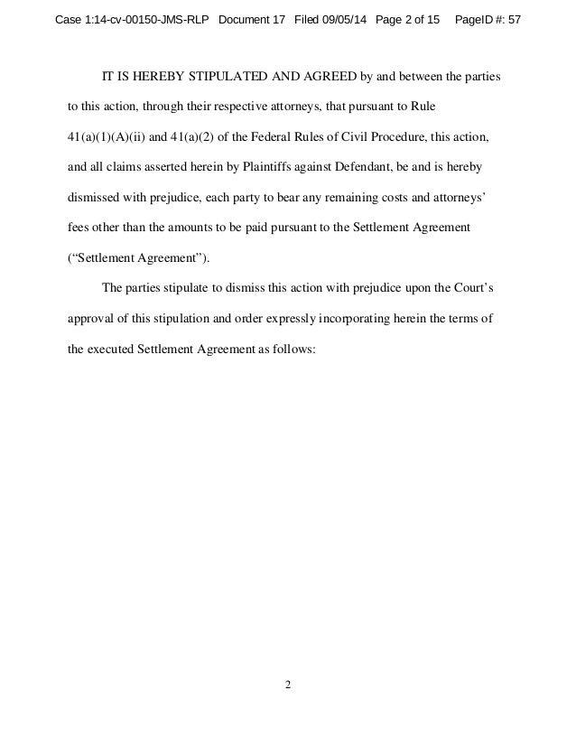 17 Stipulation To Dismiss With Prejudice And Order