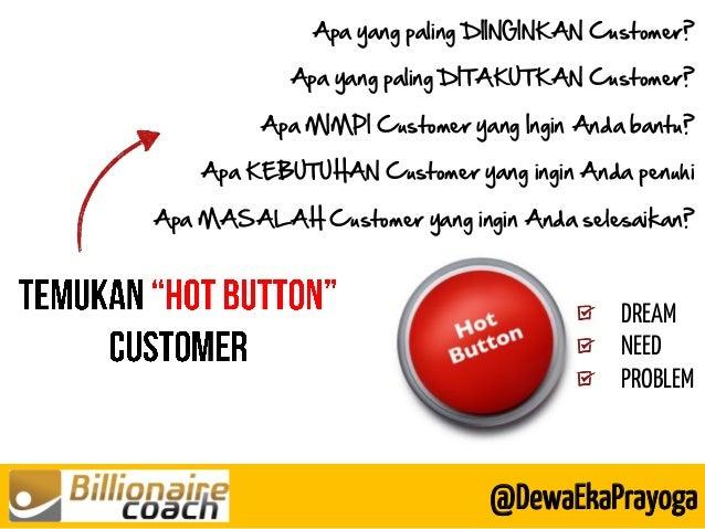 @DewaEkaPrayoga DREAM NEED PROBLEM Apa yang paling DIINGINKAN Customer? Apa yang paling DITAKUTKAN Customer? Apa MIMPI Cus...