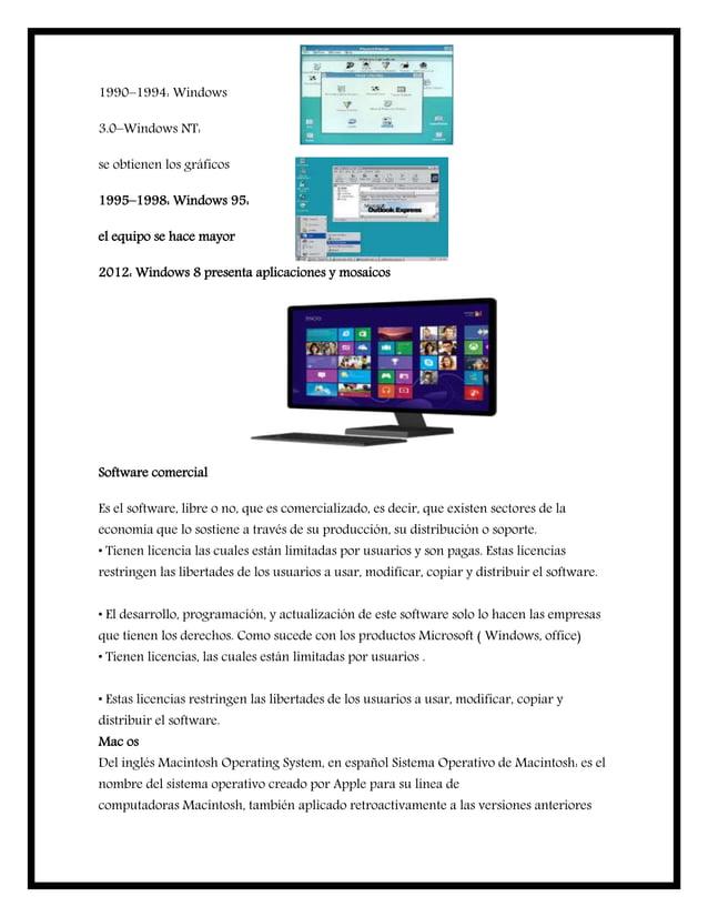 1990–1994: Windows 3.0–Windows NT: se obtienen los gráficos 1995–1998: Windows 95: el equipo se hace mayor 2012: Windows 8...