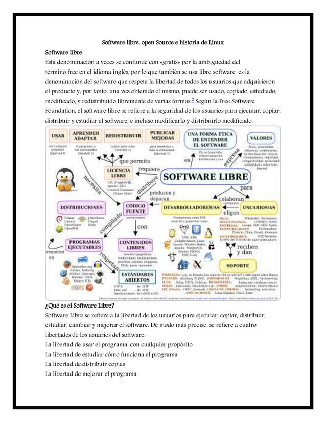 Software libre, open Source e historia de Linux Software libre Esta denominación a veces se confunde con «gratis» por la a...