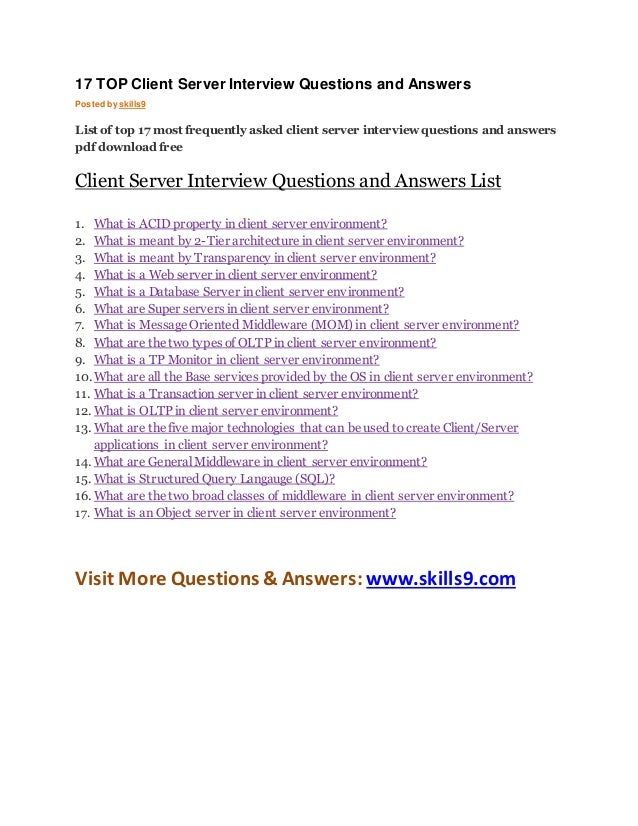 17 top client server interview questions and answers