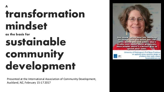 A transformation mindset as the basis for sustainable community development