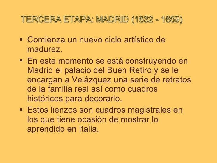 <ul><li>C omienza un nuevo ciclo artístico de madurez. </li></ul><ul><li>En este momento se está construyendo en Madrid el...