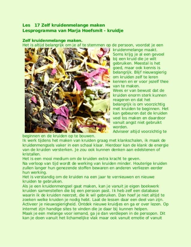 Les 17 Zelf kruidenmelange maken Lesprogramma van Marja Hoefsmit - kruidje Zelf kruidenmelange maken. Het is altijd belang...