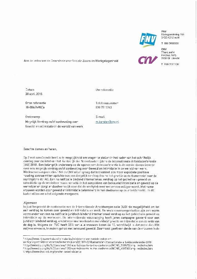 Aan de Leden van de Commissie voor Sociale Zaken en Werkgelegenheid BRUI csv FNV Hertogswetering 159 3452 AS Utrecht T 088...
