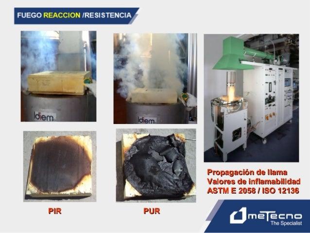 PIRPIR PURPUR Propagación de llamaPropagación de llama Valores de inflamabilidadValores de inflamabilidad ASTM E 2058 / IS...