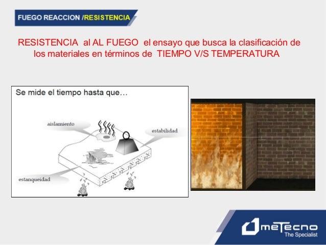 RESISTENCIA al AL FUEGO el ensayo que busca la clasificación de los materiales en términos de TIEMPO V/S TEMPERATURA
