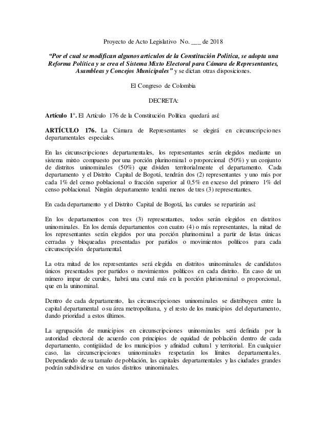 """Proyecto de Acto Legislativo No. ___ de 2018 """"Por el cual se modifican algunos artículos de la Constitución Política, se a..."""