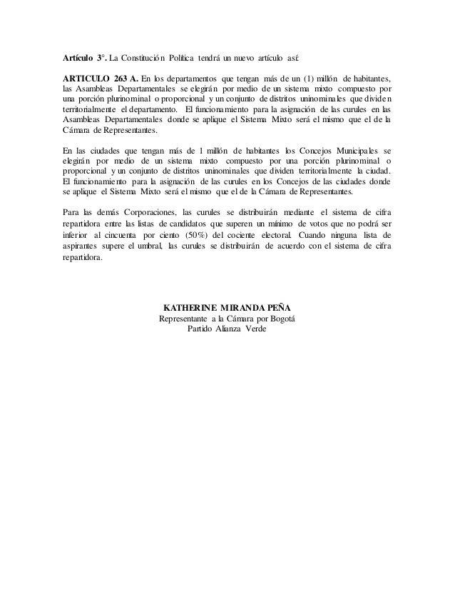 Proyecto de acto legislativo sistema mixto-cámara_concejos y asambleas Slide 3