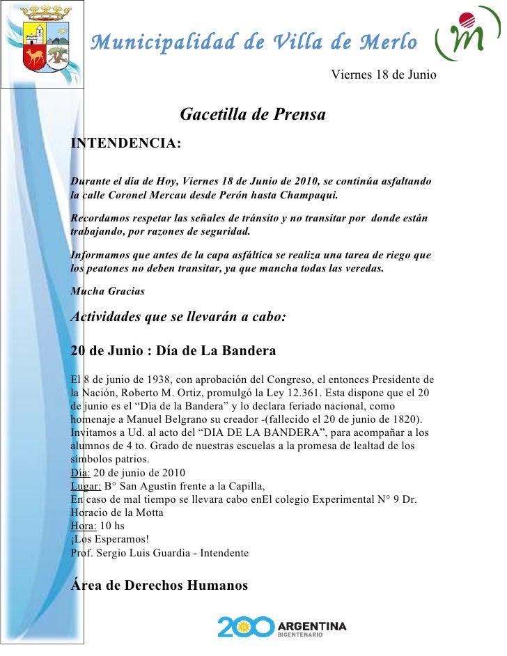 Municipalidad de Villa de Merlo                                                        Viernes 18 de Junio                ...