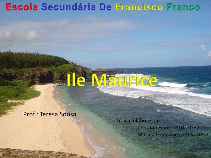 Prof.: Teresa Sousa                      Travail élaboré par:                                Carolina Filipe nº10 10º32   ...