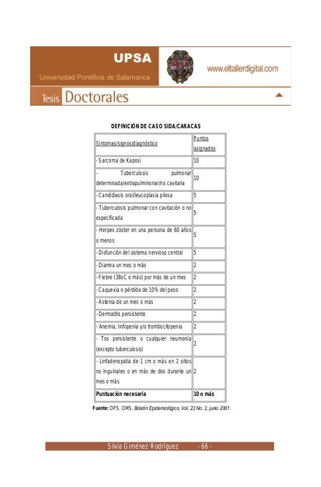 Silvia Giménez Rodríguez - 66 - DEFINICIÓN DE CASO SIDA/CARACAS Síntomas/signos/diagnóstico Puntos asignados - Sarcoma de ...