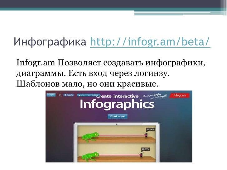 Инфографика http://infogr.am/beta/Infogr.am Позволяет создавать инфографики,диаграммы. Есть вход через логинзу.Шаблонов ма...