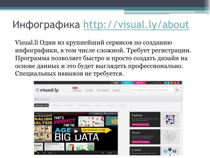 Инфографика http://visual.ly/aboutVisual.li Один из крупнейший сервисов по созданиюинфографики, в том числе сложной. Требу...