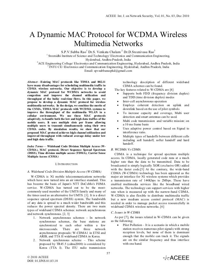 ACEEE Int. J. on Network Security, Vol. 01, No. 03, Dec 2010 A Dynamic MAC Protocol for WCDMA Wireless            Multimed...