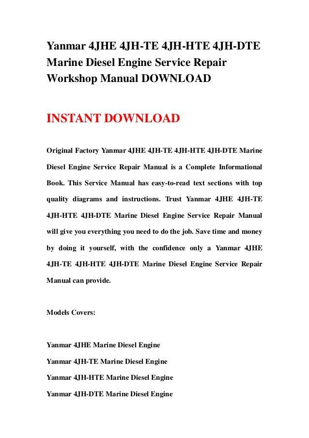 Yanmar 4JHE 4JH-TE 4JH-HTE 4JH-DTE Marine Diesel Engine