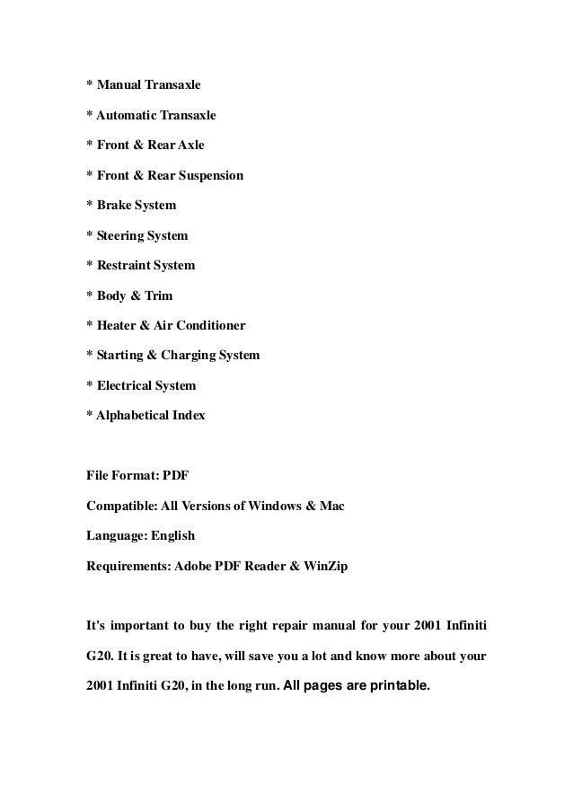 2001 infiniti g20 service repair manual download rh slideshare net infiniti g20 repair manual pdf infiniti g20 owners manual
