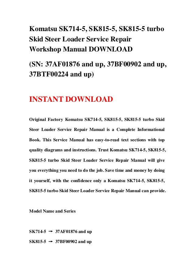 download komatsu sk714 5 sk815 5 turbo skid steer loader service repair workshop manual