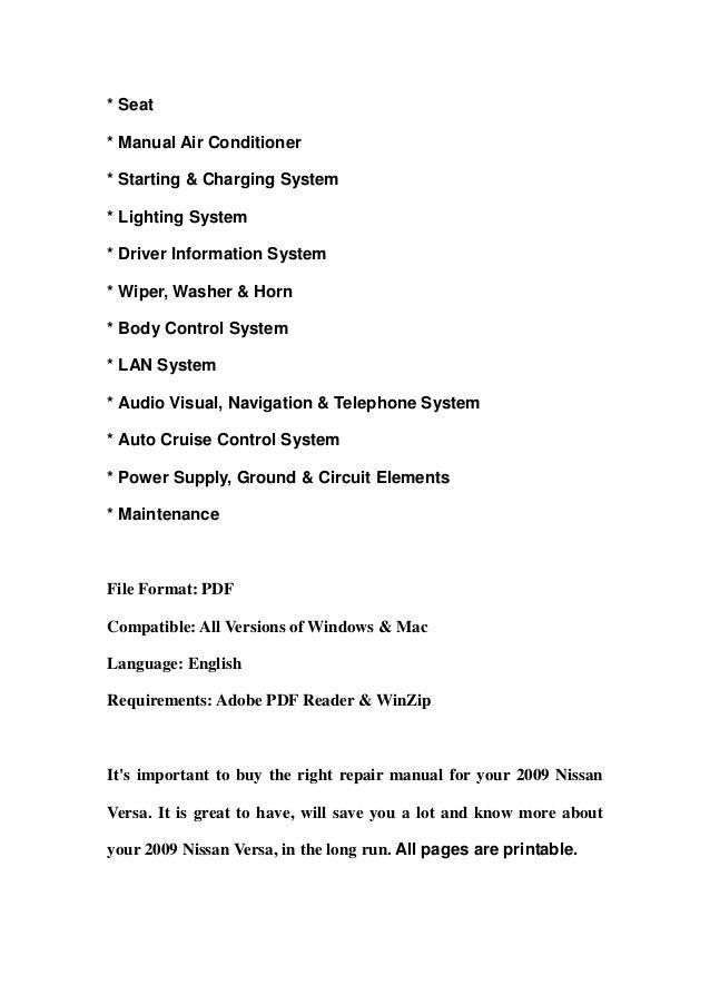 nissan versa repair manual pdf