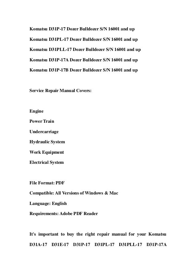 Komatsu owners manual d31a 17