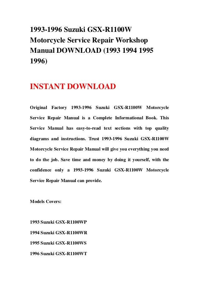 1993 1996 Suzuki Gsx R1100w Motorcycle Service Repair Workshop Manual